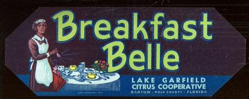 BREAKFAST BELLE, LAKE GARFIELD CITRUS CO-OP CAN LABEL, Advertisement