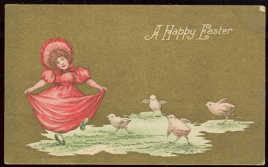 Image for HAPPY EASTER POSTCARD OF LITTLE GIRL DANCING WITH CHICKS