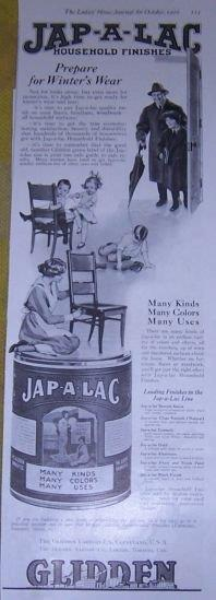 1916 LADIES HOME JOURNAL JAP-A-LAC HOUSEHOLD FINISHES MAGAZINE ADVERTISEMENT, Advertisement