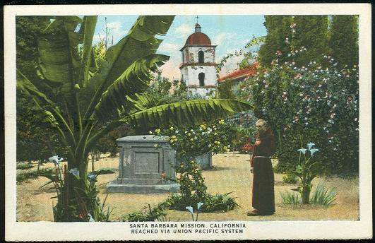 UNION PACIFIC RAILROAD POSTCARD OF THE SANTA BARBARA MISSION, CALIFORNIA, Postcard