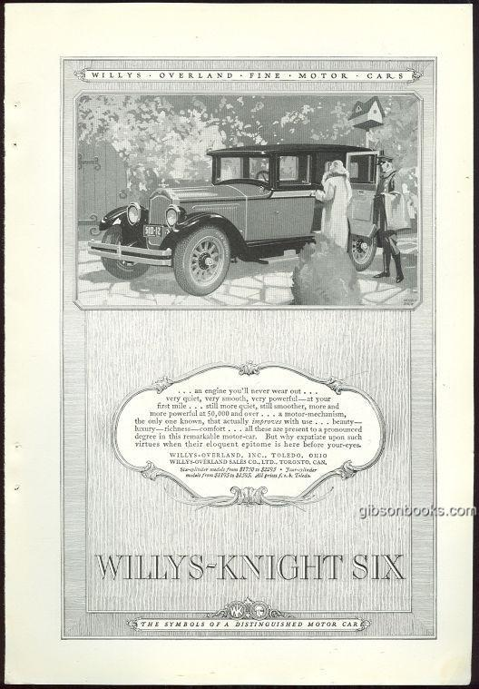 1925 NATIONAL GEOGRAPHIC WILLYS-KNIGHT SIX MOTOR CAR MAGAZINE ADVERTISEMENT, Advertisement