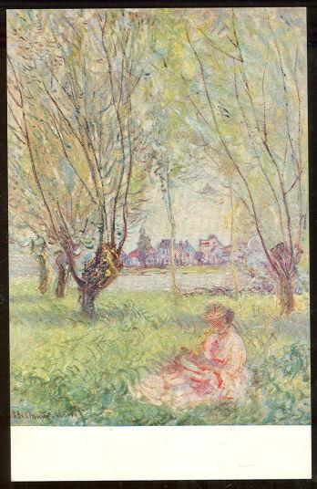 WOMAN SEATED UNDER THE WILLOWS BY MONET, Postcard