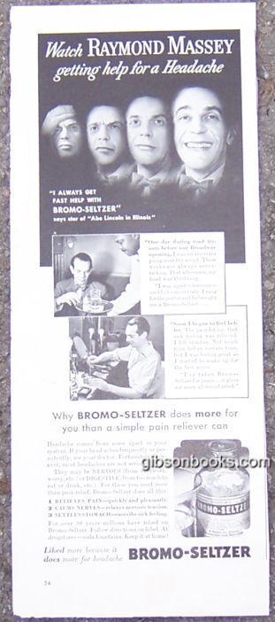 Image for 1940 RAYMOND MASSEY BROMO-SELTZER LIFE MAGAZINE ADVERTISEMENT