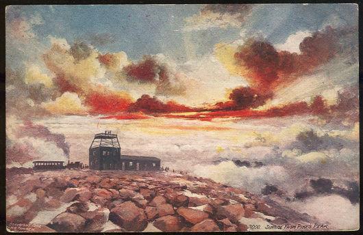SUNRISE FROM PIKE'S PEAK, COLORADO, Postcard