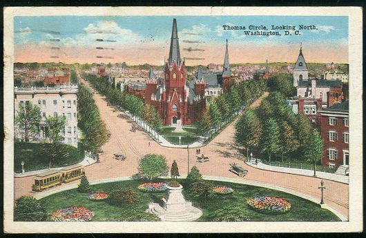 THOMAS CIRCLE LOOKING NORTH, WASHINGTON D.C., Postcard
