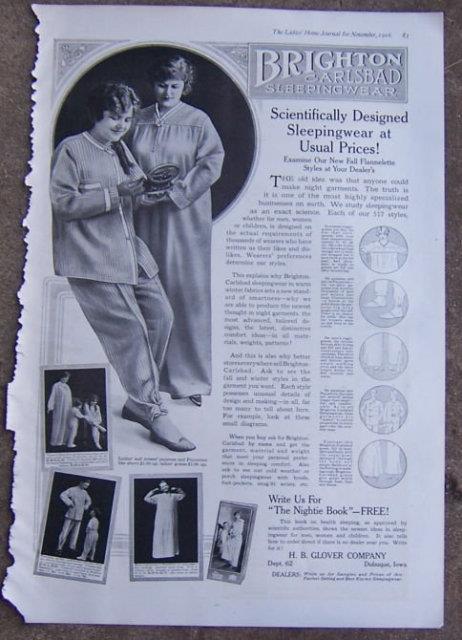 1916 LADIES HOME JOURNAL BRIGHTON CARLSBAD SLEEPINGWEAR MAGAZINE ADVERTISEMENT, Advertisement