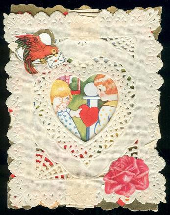 Image for VINTAGE LACY VALENTINE WITH BOY AND GIRL