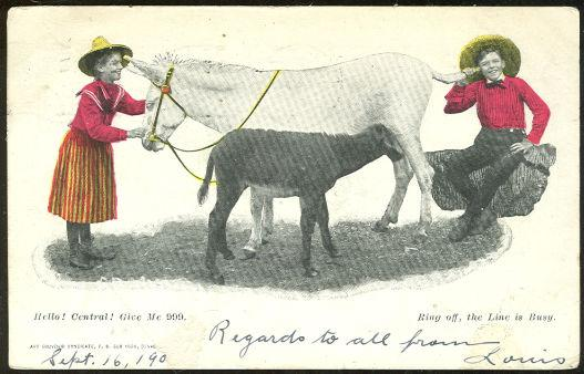 Image for COMIC POSTCARD TWO KIDS TALKING ON BUSY HORSE