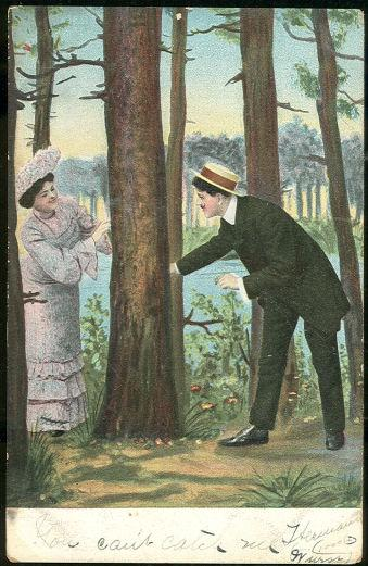 COURTING COUPLE PLAYING IN THE WOODS, Postcard