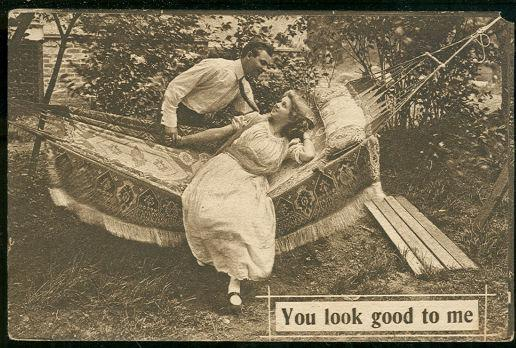 COURTING COUPLE IN HAMMOCK, Postcard