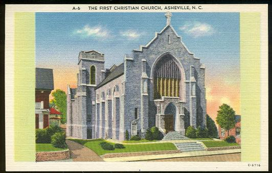 FIRST CHRISTIAN CHURCH, ASHEVILLE, NORTH CAROLINA, Postcard
