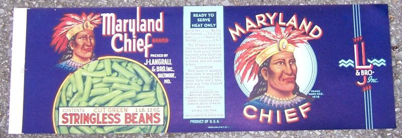 CAN LABEL FOR MARYLAND CHIEF CUT GREEN STRINGLESS BEANS, Advertisement
