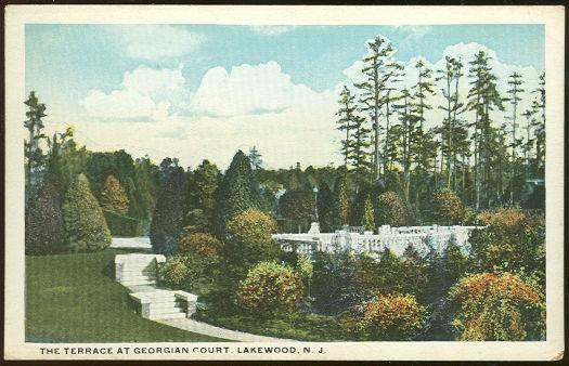 TERRACE, GEORGIAN COURT, LAKEWOOD, NEW JERSEY, Postcard