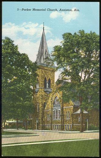 PARKER MEMORIAL CHURCH, ANNISTON, ALABAMA, Postcard