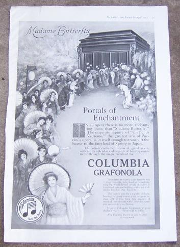 Image for 1917 LADIES HOME JOURNAL MADAME BUTTERFLY ON COLUMBIA GRAFONOLA MAGAZINE ADVERTISEMENT