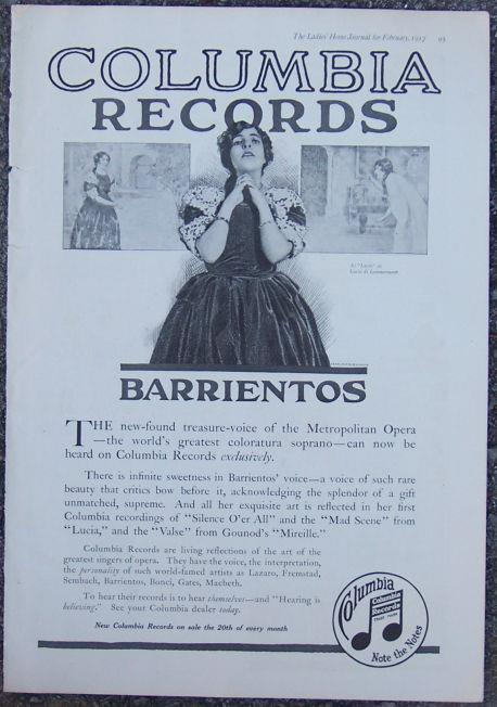 1917 LADIES HOME JOURNAL BARRIENTOS ON COLUMBIA RECORDS MAGAZINE ADVERTISEMENT, Advertisement
