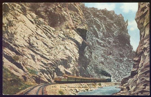 GOING THROUGH THE ROYAL GORGE, COLORADO, Postcard