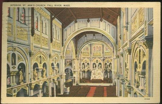 INTERIOR ST. ANN'S CHURCH, FALL RIVER, MASSACHUSETTS, Postcard