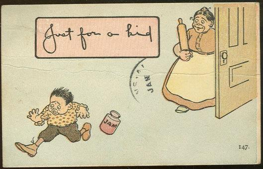 COMIC POSTCARD OF SMALL BOY CAUGHT BY MOM WITH JAM JAR, Postcard