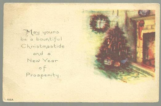 CHRISTMASTIDE AND NEW YEAR POSTCARD WITH CHRISTMAS TREE, Postcard
