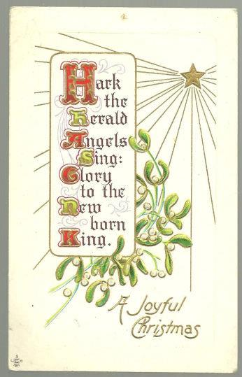 JOYFUL CHRISTMAS POSTCARD HARK THE HERALD ANGELS SING, Postcard