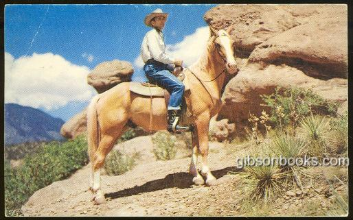 Image for COWBOY ON HORSEBACK HALTED TO SURVEY THE SCENIC SPLENDOR