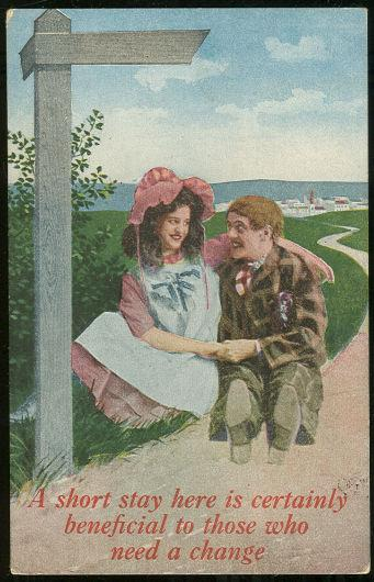 COURTING COUPLE SIGN POST SERIES POSTCARD, Postcard