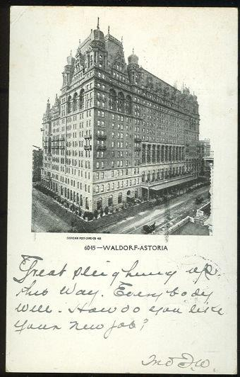 WALDORF ASTORIA, NEW YORK CITY, NEW YORK, Postcard
