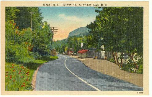 US HIGHWAY NO. 74 AT BAT CAVE, NORTH CAROLINA, Postcard