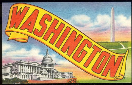Image for WASHINGTON D. C. POSTCARD FEATURING THE WASHINGTON MONUMENT AND CAPITOL BUILDING