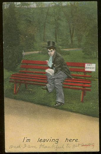 Image for COMIC POSTCARD OF MAN ON PARK BENCH TAKING PANTS OFF