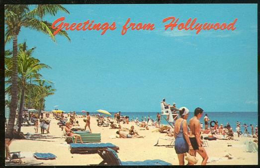 GREETINGS POSTCARD OF BEACH FROM HOLLYWOOD, FLORIDA, Postcard