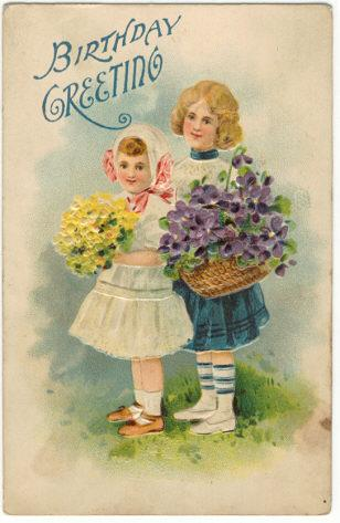 Image for TWO CHILDREN WITH FLOWERS BIRTHDAY GREETINGS POSTCARD
