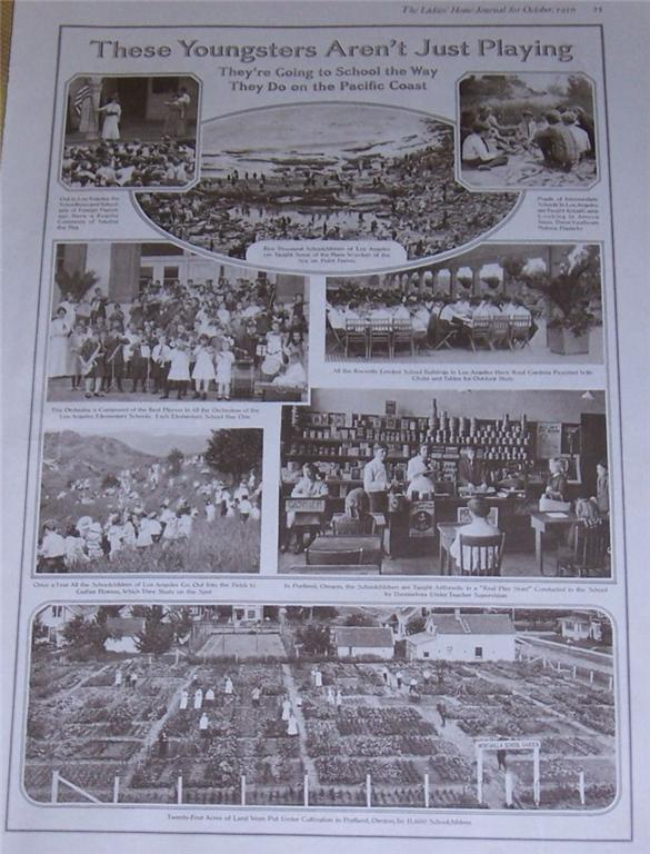 1916 LADIES HOME JOURNAL PAGE OF SCHOOL CHILDREN ON THE PACIFIC CHILDREN