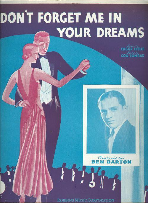 DON'T FORGET ME IN YOUR DREAMS, Sheet Music