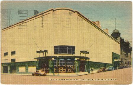 NEW MUNICIPAL AUDITORIUM, DENVER, COLORADO, Postcard