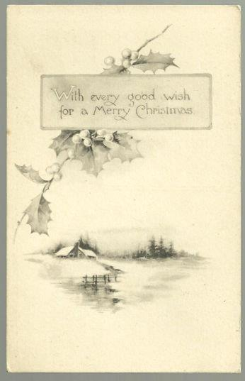 MERRY CHRISTMAS POSTCARD WITH SNOWY LANDSCAPE AND HOLLY, Postcard