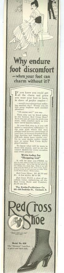 1915 LADIES HOME JOURNAL RED CROSS SHOES MAGAZINE ADVERTISEMENT, Advertisement