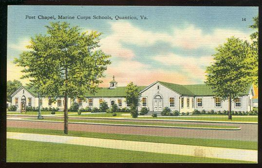 POST CHAPEL, MARINE CORPS SCHOOLS, QUANTICO, VIRGINIA, Postcard
