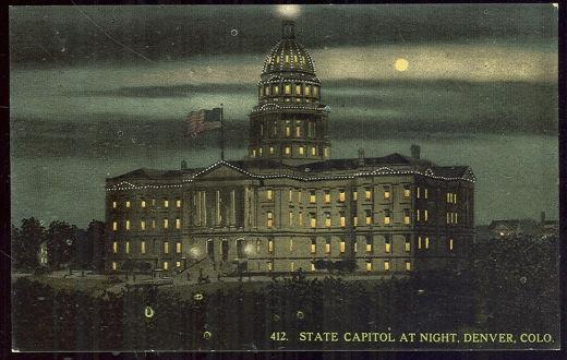 STATE CAPITOL AT NIGHT, DENVER, COLORADO, Postcard