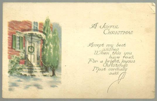 JOYFUL CHRISTMAS POSTCARD WITH SNOWY DOORWAY AND TREE, Postcard