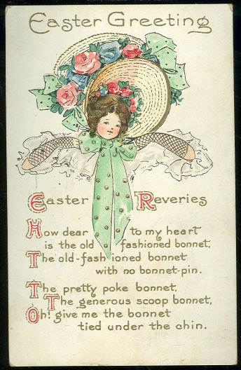 Image for EASTER POSTCARD WITH YOUNG GIRL AND HER BONNET