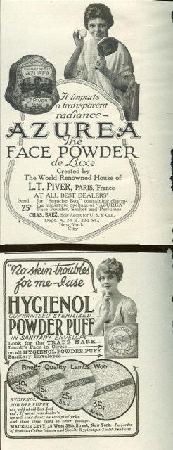 1916 LADIES HOME JOURNAL AZUREA AND HYGEIENOL POWDER PUFF ADVERTISEMENTS, Advertisement
