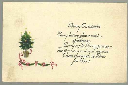 MERRY CHRISTMAS POSTCARD WITH SMALL CHRISTMAS TREE, Postcard