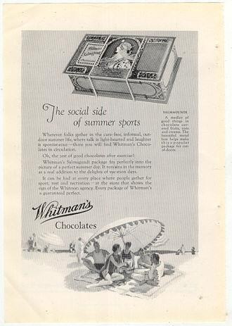 Image for 1926 NATIONAL GEOGRAPHIC WHITMAN CHOCOLATES, THE SOCIAL SIDE OF SUMMER SPORTS, MAGAZINE ADVERTISEMENT