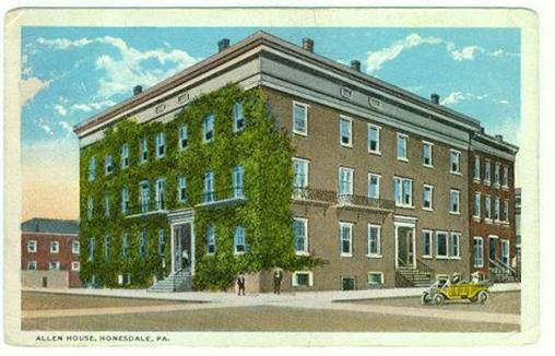 ALLEN HOUSE, HONESDALE, PENNSYLVANIA, Postcard