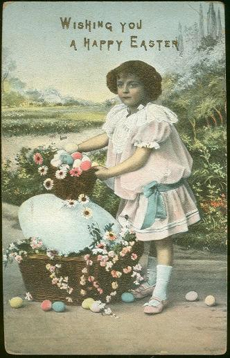Image for LITTLE GIRL WISHING YOU A HAPPY EASTER POSTCARD