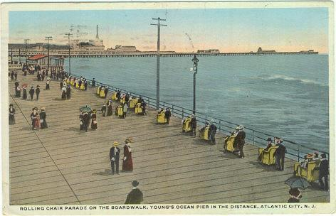 ROLLING CHAIR PARADE ON THE BOARDWALK, ATLANTIC CITY, NEW JERSEY, Postcard