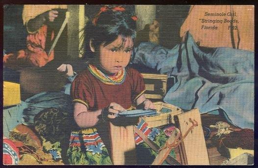 Image for SEMINOLE GIRL STRINGING BEADS, FLORIDA