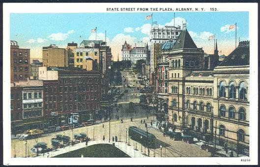 STATE STREET FROM THE PLAZA, ALBANY, NEW YORK, Postcard